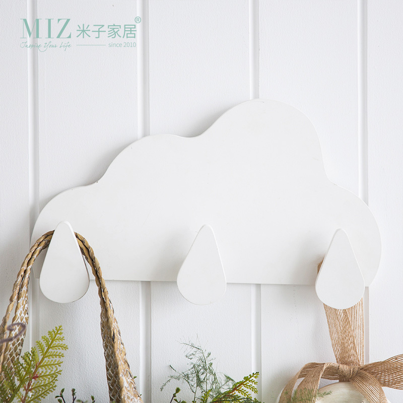 Miz Wooden Storage Shelf Wall Decoration Board Cloud Shape Hook Kids Room Decor Decorative Home Organizer Hook
