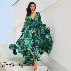 a16b4ee018b hirigin Elegant Women Long Sleeve Summer Maxi Plus Size