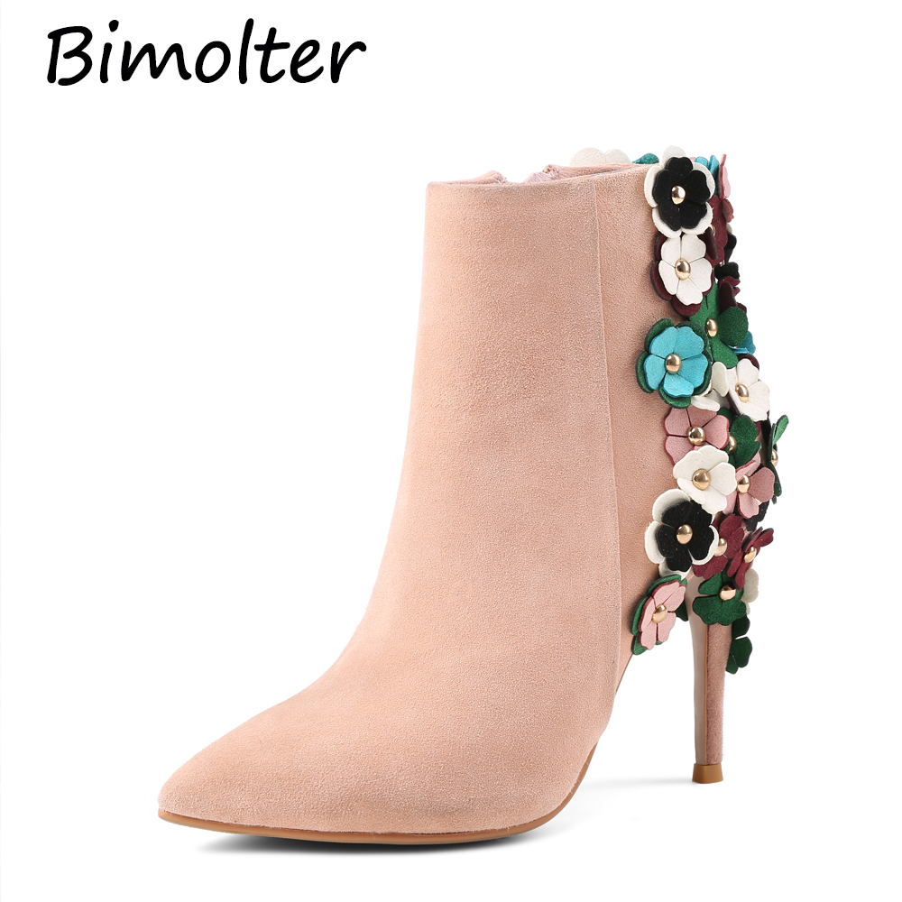 Bimolter Appliques National Flower 2019 New Genuine Leather Ankle Boots for Women Ladies Shoes Thin High Heels Booties FC108Bimolter Appliques National Flower 2019 New Genuine Leather Ankle Boots for Women Ladies Shoes Thin High Heels Booties FC108