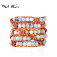 Fyla Mode Classic Bracelet Amazonite Bead Leather Knotted Bracelets Handmade Bohemia Leather Bracelet Birthday Gift Jewelry