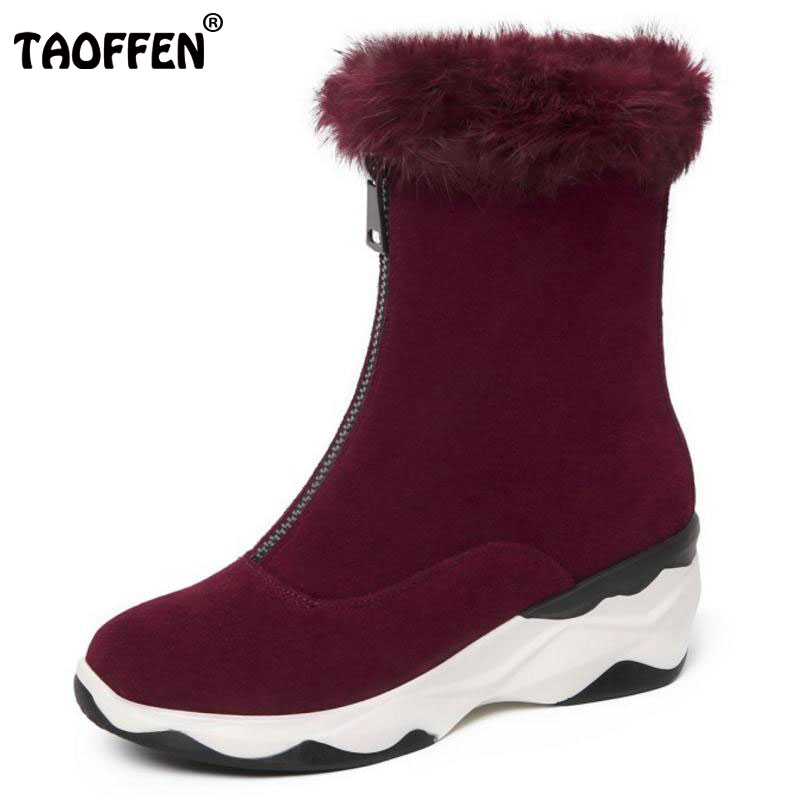 TAOFFEN Women Real Leather Ankle Boots Female Wedges Platform Zipper Shoes Winter Warm Pluh Snow Fur Botas Footwear Size 34-39 2016 rhinestone sheepskin women snow boots with fur flat platform ankle winter boots ladies australia boots bottine femme botas