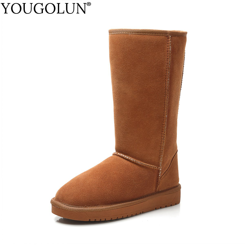 YOUGOLUN Genuine Suede Snow Boots for Women Winter Fashion Ladies Warm Black Maroon Flat Shoes Woman Solid Mid-Calf Boots #B188 xiangxue warm and fuzzy black suede flat boots for winter 2018 chelsea boots for women