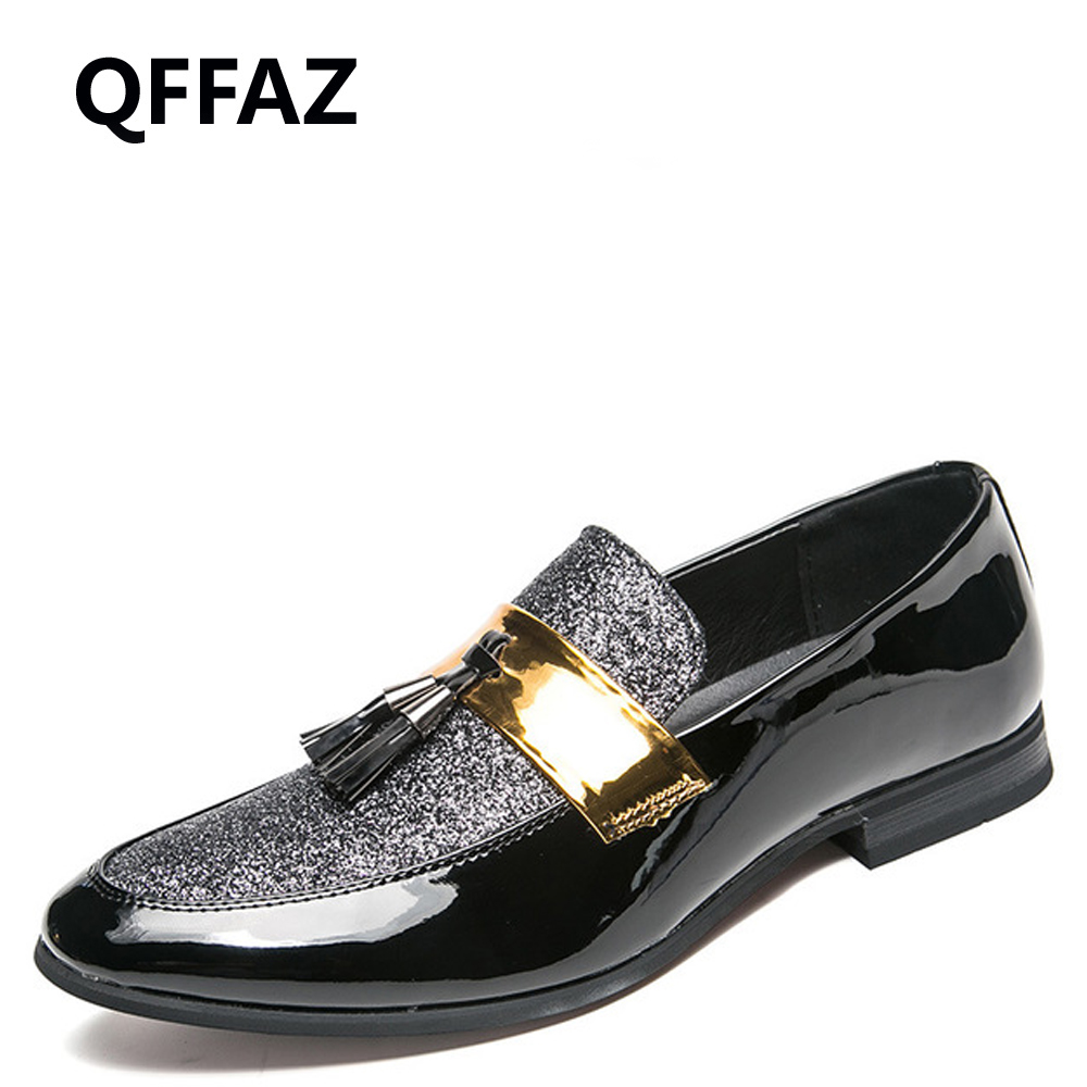 QFFAZ Italian men loafers handmade tassel loafers for wedding party slip on silver black red bottom mens loafers glitter