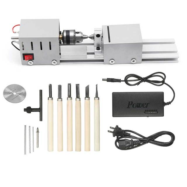 DC12 24V 96W/100W Mini Lathe Beads Machine Woodwork DIY Lathe Standard Set with Power carving cutter Wood Lathe
