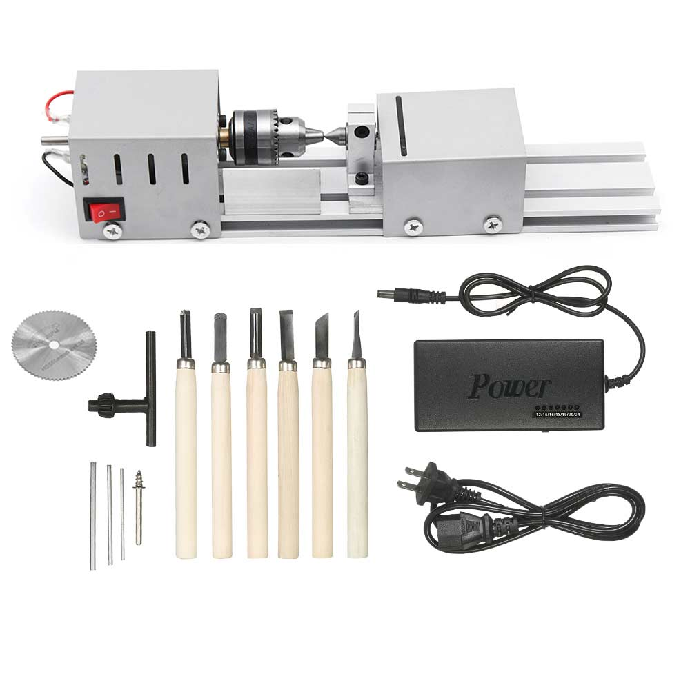 DC12-24V 96W/100W Mini Lathe Beads Machine Woodwork DIY Lathe Standard Set with Power carving cutter Wood Lathe