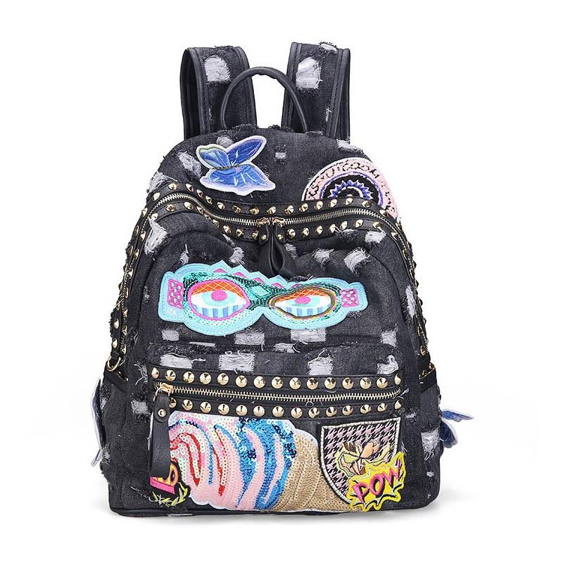 Ipinee Women's Denim Backpacks School Bags For Women Teenager Girls Shoulder Bag Large Travel Rucksack Bolsas Mochilas Femininas #2
