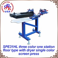 SPE31HL Three Color One Station With Dryer Screen Printing Machine 220V 110V