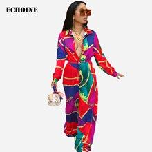 Echoine Chain Print Long Sleeve Jumpsuit Turn Down Collar Elegant Slim  Wide Leg Women Rompers Femme Overalls Pplaysuit