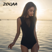 ZOGAA ZOGGA 2019 Summer M-XL Solid Black Sexy Bikini Polyester/Nylon Backless Women