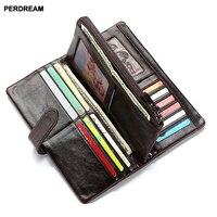 men'slong leather wallet vertical wallet leather clutch bag Multifunctional bag Zipper bag