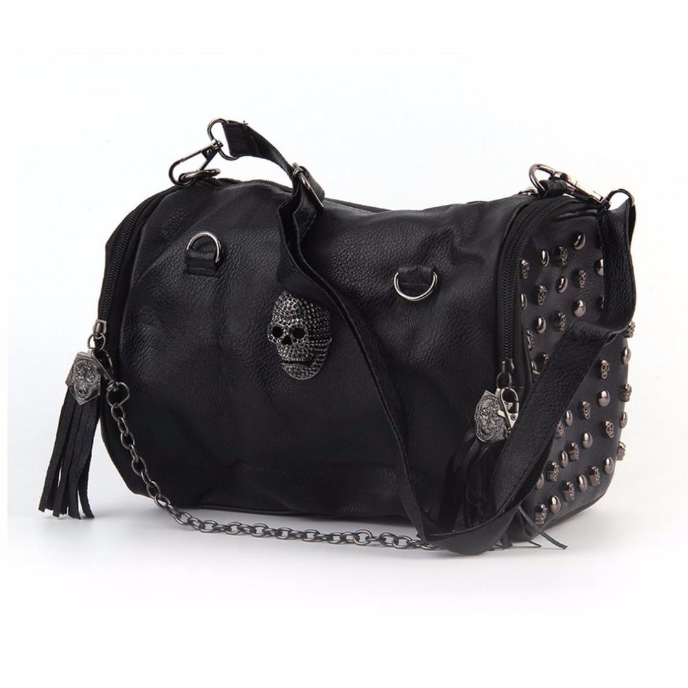 Fashion Black Luxury Women Bags Rivet Tassels Shoulder Bag  Chain Cross-body&Messenger With Good Designer Larger Capacity Hot lipstick chain cross body bag