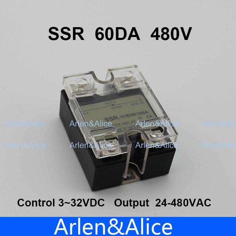 60DA SSR Control 3-32V DC output 24~480VAC High voltage single phase AC solid state relay 80da ssr control 3 32v dc output 24 480vac high voltage single phase ac solid state relay