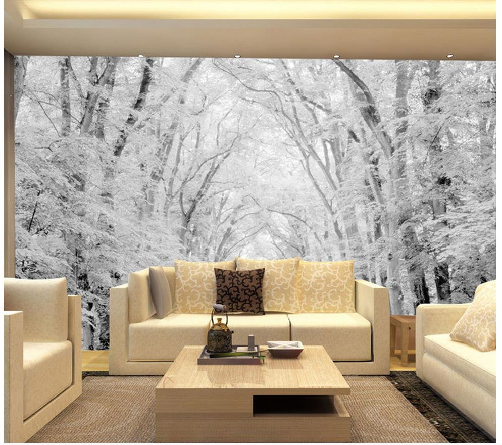 3d landscape wallpaper mural 3d wallpaper woods snow scene tv wall murals photo 3d wallpaper in. Black Bedroom Furniture Sets. Home Design Ideas