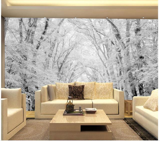 3d paysage papier peint mural 3d papier peint bois neige sc ne tv peintures murales photo 3d. Black Bedroom Furniture Sets. Home Design Ideas
