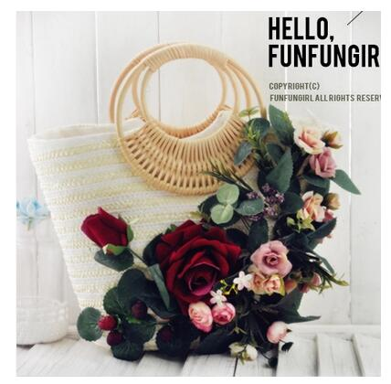ФОТО Plant flowers new zipper youth in 2016 the new popular flower flower plait straw bag