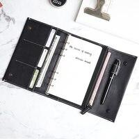 Yiwi бесплатный логотип на заказ 190x135 мм Натуральная кожа дневник планировщик 3 закрывающиеся колпачки записная книжка с кольцом 15 мм