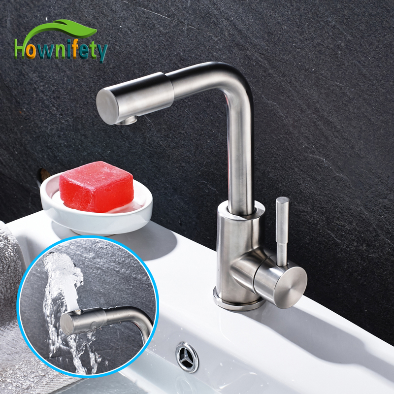 цена на Stainless Steel Bathroom Sink Faucet Single Handle Mixer Tap Swivel Spout Faucet Nickel Brushed