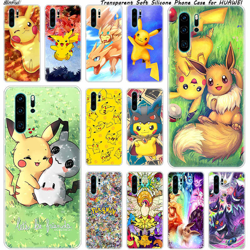 Pikachu Soft Silicone Phone Case for Huawei P30 P20 Pro P10 P9 P8 Lite 2017 P Smart Z Plus 2019 NOVA 3 3i Fashion Cover