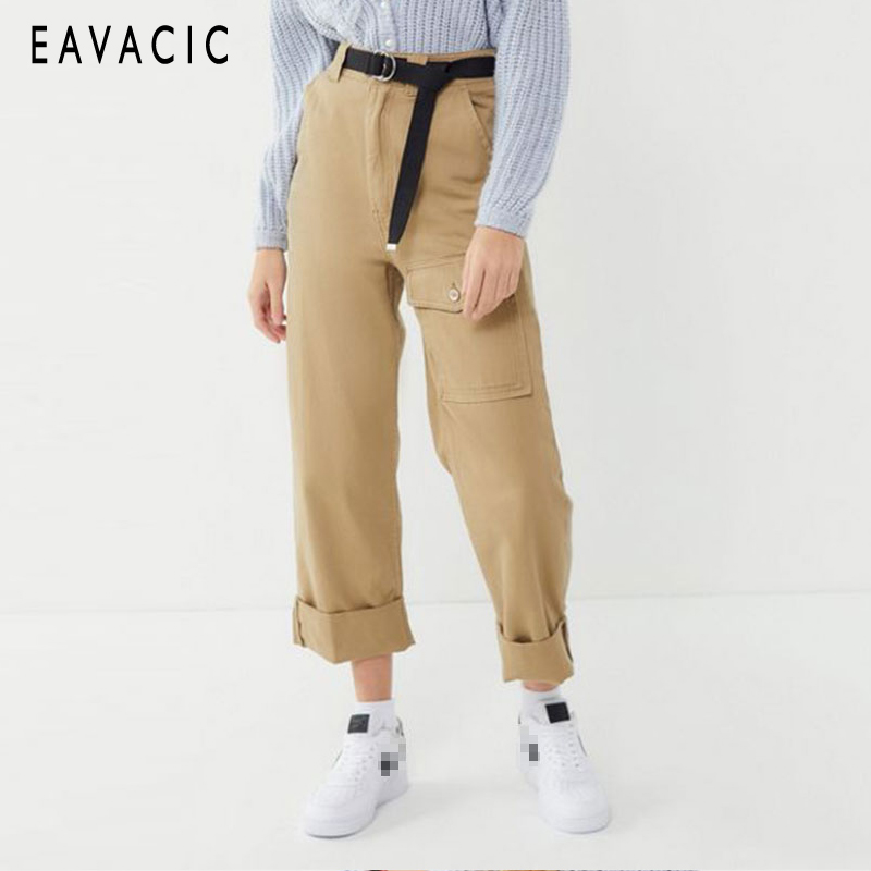 7a235fbfae914 EAVACIC 2019 new fashion women jeans boy friend style khaki Wide-leg pants  pocket