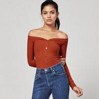 Women Off The Shoulder Long Sleeve Tops Center Front Buttons Tight Fitting Shirt Adira Top