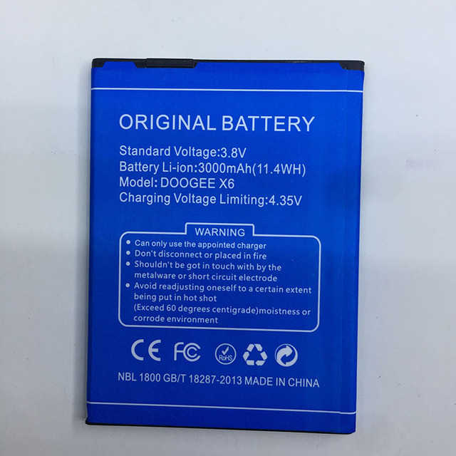 For DOOGEE X6 Battery 100% New High Quality 3000mAh Back-up Battery for DOOGEE X6 Pro Smartphone with Tracking Number