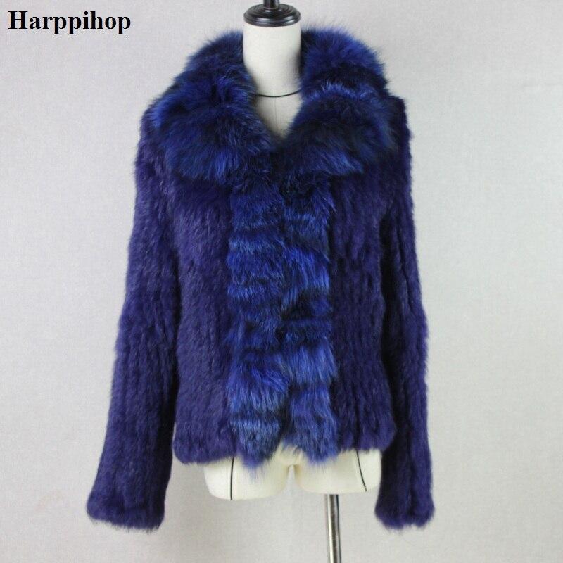 Harppihop мех вязаный с натуральным кроличьим мехом пальто куртки меховой воротник лиса Женские зимние толстые теплые натуральная пальто с мех...