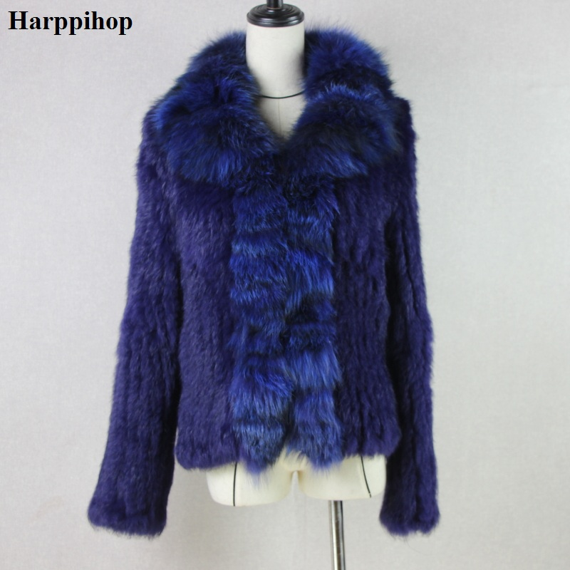 Harppihop De Fourrure Tricoté real fourrure de lapin manteau veste fourrure de renard collier de femmes d'hiver épais chaud véritable manteau de fourrure poitrine grand taille