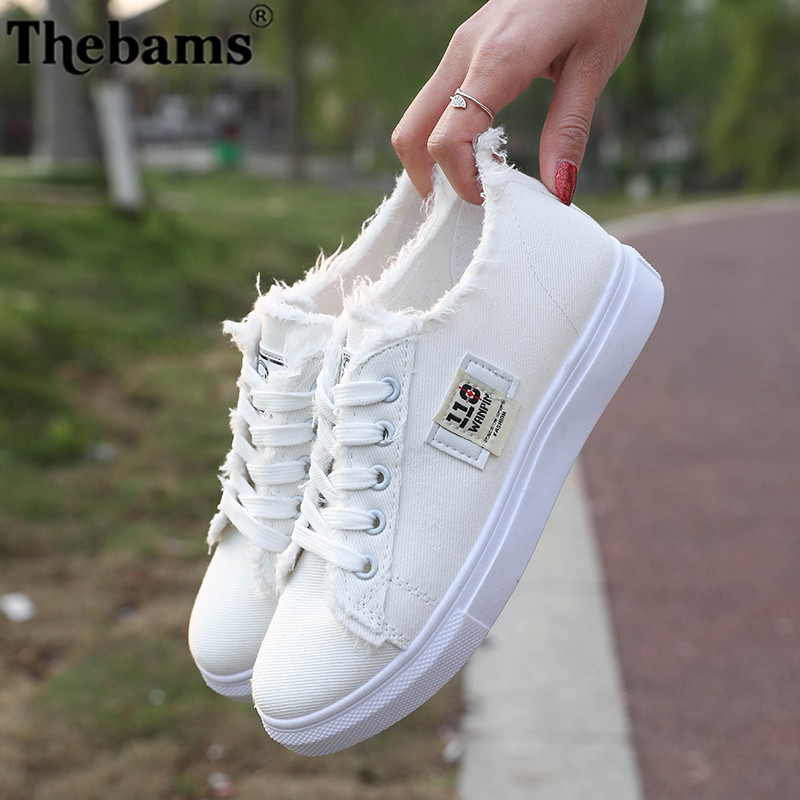 Thebams 2018 New Spring and Summer With White Shoes Women Flat Leather Canvas Shoes Female White Board Shoes Casual Shoes Female 2018 new canvas shoes spring summer women shoes genuine leather canvas shoes female round toe flat shoes lace up female canvas s