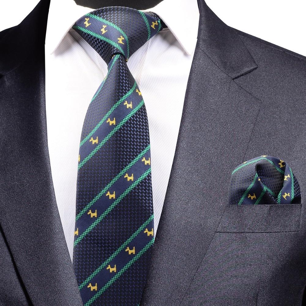 GUSLESON Quality Tie Set for Men Striped Tie and Pocket Square Animal Pattern Necktie Corbatas Hombre Handkerchief Wedding Tie