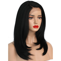 COLODO Kinky Straight Synthetic Lace Front Wigs For Black Women Heat Resistant L Part Short Natural