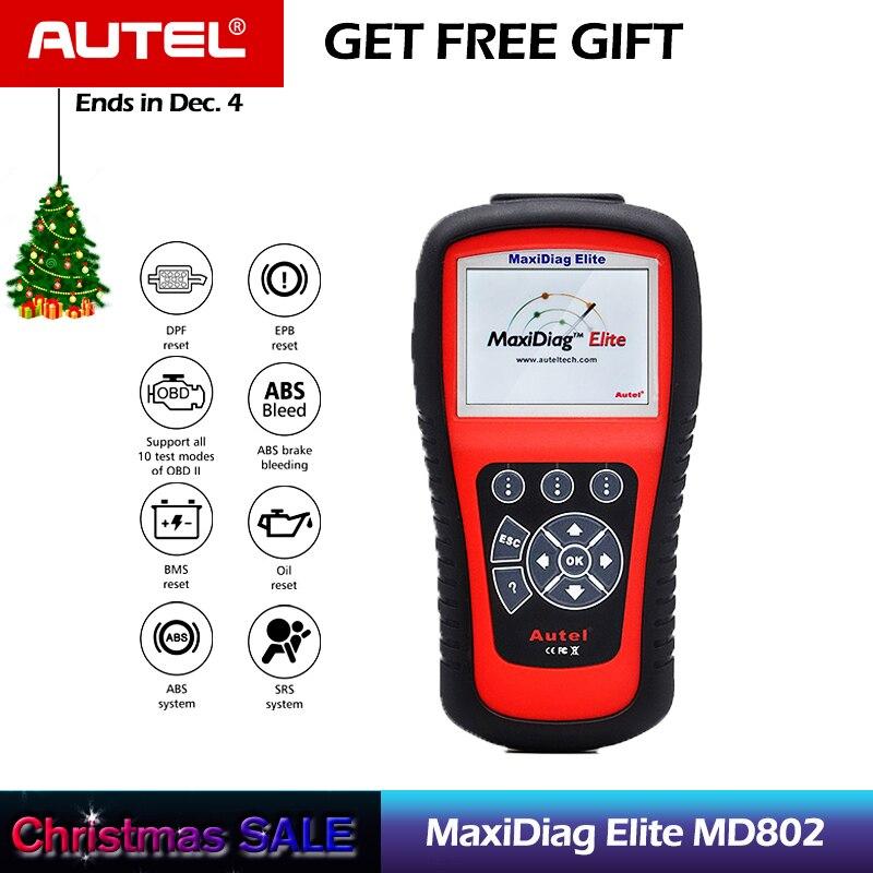 AUTEL MaxiDiag Elite MD802 Tutti I Sistemi di Auto Lettore di Codice Scanner per ABS/SRS/Motore/Trasmissione/EPB /olio Reset Tool di Diagnostica