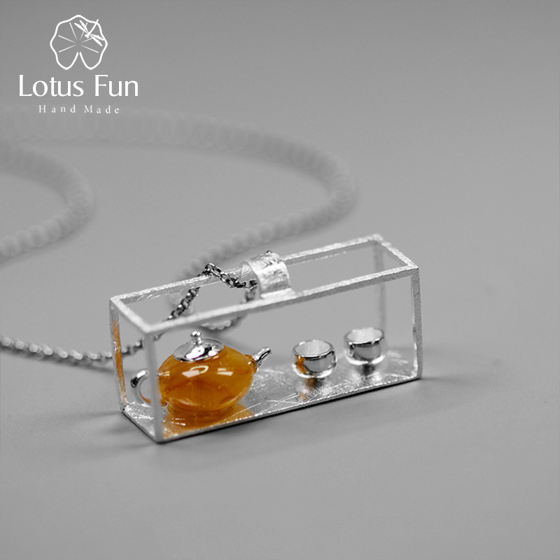 Lotus Fun Real 925 Sterling Silver Handmade Fine Jewelry Natural Amber Original Teapot Design Pendant without Necklace for Women real amber necklace necklace 925 sterling silver natural real amber fine jewelry delivery of clavicular necklace