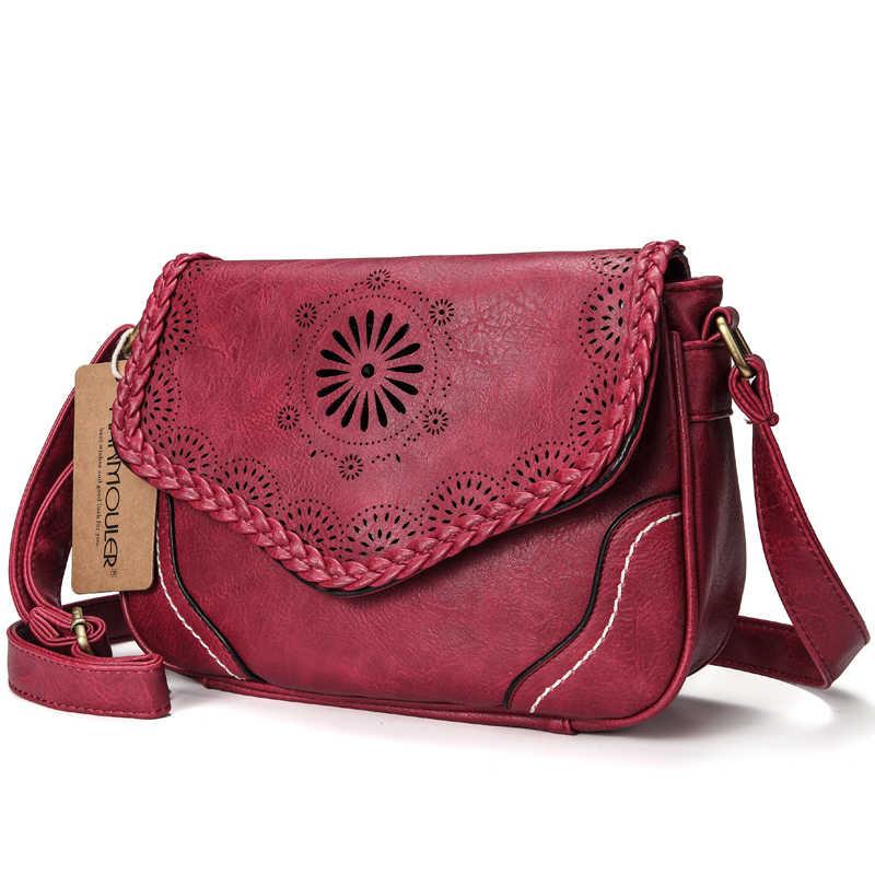 Бренд annmouler женская сумка на плечо винтажная сумка через плечо из искусственной кожи открытая женская сумка-портфель коричневая Ретро сумка для девочек