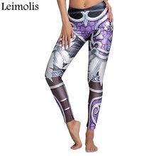 Leimolis 3D printed fitness push up workout leggings women gothic skull armor plus size High Waist punk rock pants