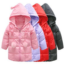 New Design Girls Winter Thick Warm Coat Girls Long Sleeve Hooded Coat Kid School Casual Long Jackets Down Snow Wear Kid Clothes