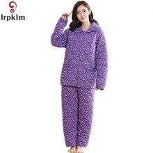 2017 Plus Size Women Cottonl Thick  Pajamas Sets Winter Long Sleeve Pyjamas Feminino For Women Sleepwear Homewear SY565