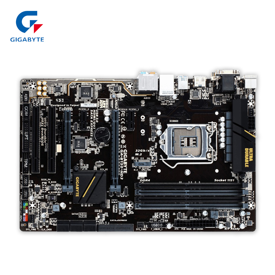 Original Gigabyte GA-B150-HD3 Desktop Motherboard B150-HD3 B150 LGA 1151 i3 i5 i7 DDR4 64G ATX 100% Fully Test