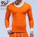 WJ Cotton Mens Thermal Tops Thermo Underwear Sexy Long Sleeve V Neck Slim T shirts Man Male Gay Warm Winter Sleepwear Plus Size