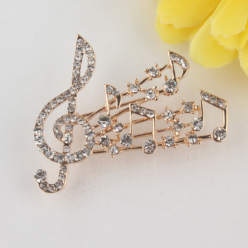 Elegant Crystal Brooch Musical Notes and Treble Clef (5)