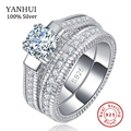 100% Real 925 Sterling Silver Rings Set Hearts and Arrows 1ct CZ Diamond Wedding Rings for Women Double Engagement Ring R121