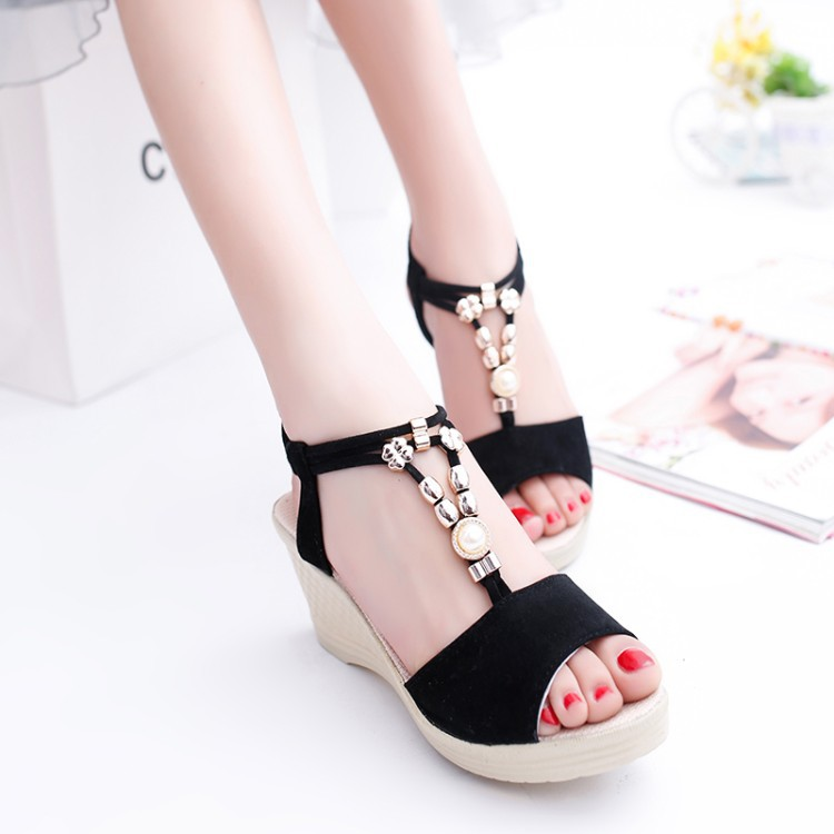 2017 new summer high heeled wedge sandals female fish mouth beading shoes korean style Korean fashion style shoes