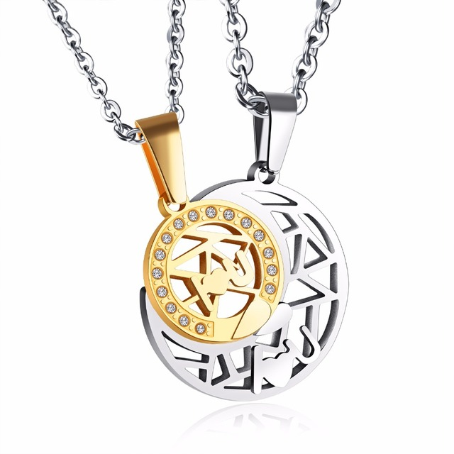 96e4ecc0c9 Couple Jewelry For Lovers 316L Stainless Steel Necklace Set Sun And Moon  Necklace Couple Necklaces w