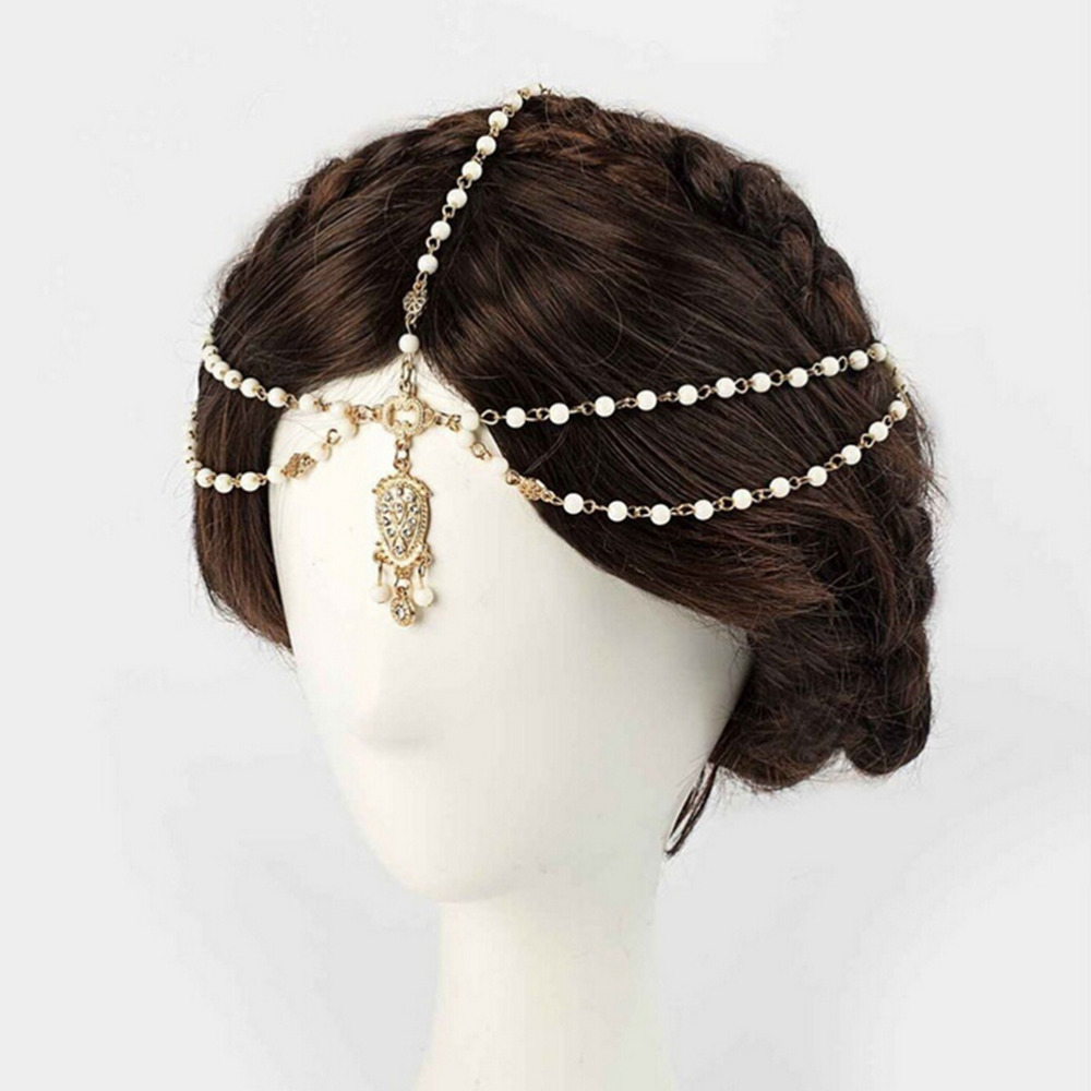 us $1.78 31% off|1pcs fashion indian boho hair decoration headbands white  beaded head hair band women head chain hair jewelry girls gifts-in hair