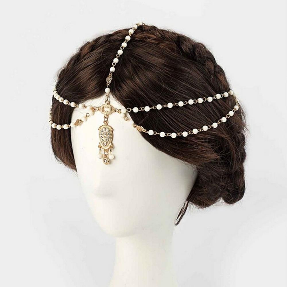 us $1.78 31% off 1pcs fashion indian boho hair decoration headbands white  beaded head hair band women head chain hair jewelry girls gifts-in hair