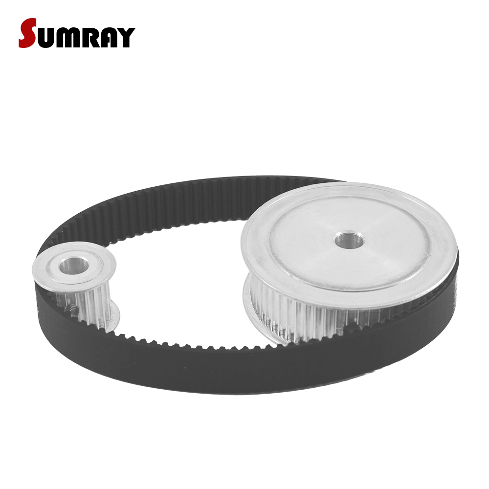 SUMRAY HTD3M 1:3 3M 20T 60T Timing Pulley Belt Kit Reduction 16mm Belt Width Toothed Pulley Wheel HTD3M-324 Motor Drive Belts купить недорого в Москве