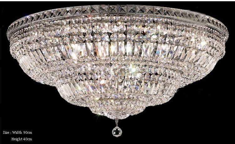 Phube Lighting Large Foyer Entryway Crystal Ceiling Light French Empire Gold Crystal Flush Mounted Light Lighting+Free shipping!