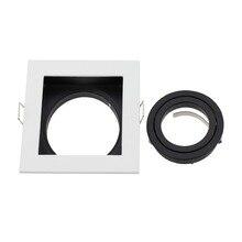 Дизайн светодиодный потолочный Точечный светильник квадратный белый Встраиваемый регулируемый каркас MR16 GU10 держатель лампы вырез 90 мм