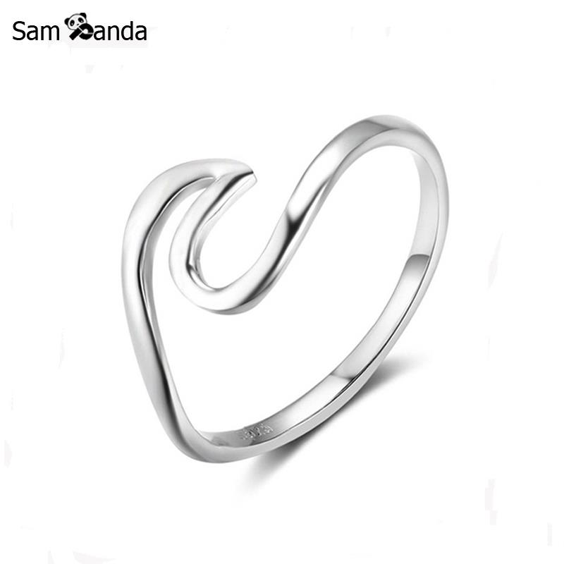 Real 925 Sterling Silver Wave Ring For Women Men Fashion ...