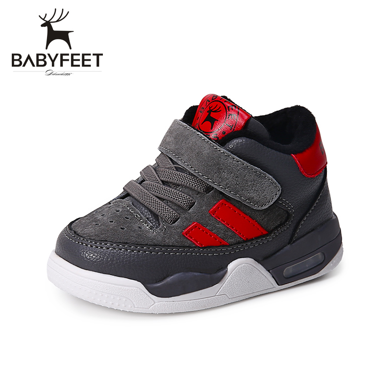 Babyfeet 2017 Winter children shoes fashion warm Suede leather sport running school tenis girl infant boys sneakers flat loafers kids shoes girls boys pu leather lace up high children sneakers girl baby shoes sport autumn winter children shoes