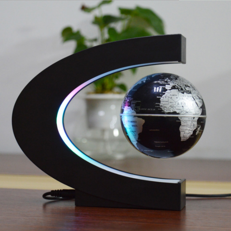 Novelty C-shaped LED Magnetic Suspension Earth Light Office Home Decoration Earth Night Light  House Of Novelty  Levitating Lamp